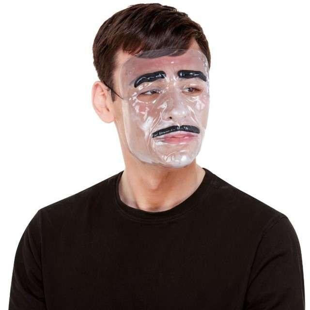 Maska Mężczyzna z wąsem transparetna Smiffys