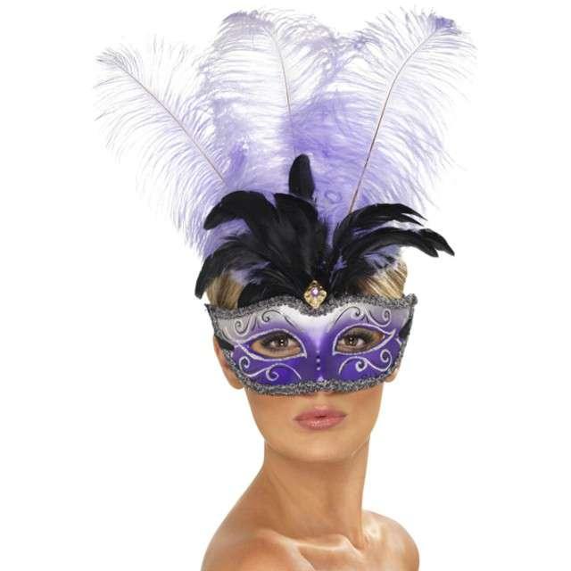 Maska Wenecka z pióropuszem fioletowo-biała Smiffys