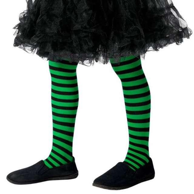 """Rajstopy dla dzieci """"Halloweenowe Paski"""", zielone, Smiffys"""