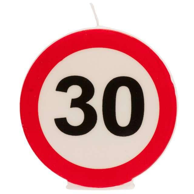 """Świeczka na tort """"30 Urodziny"""", biało-czerwona, Dekora"""