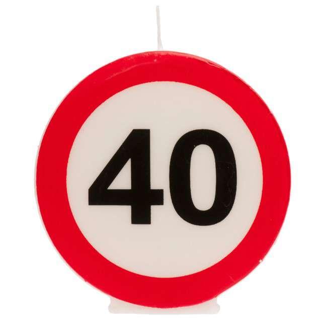 """Świeczka na tort """"40 Urodziny"""", biało-czerwona, Dekora"""