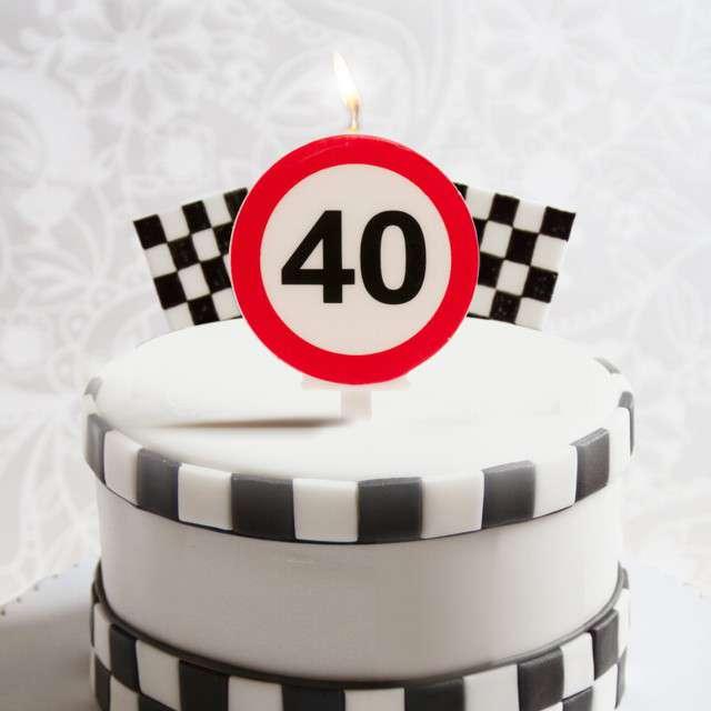 Świeczka na tort 40 Urodziny biało-czerwona Dekora