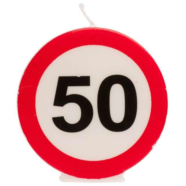 """Świeczka na tort """"50 Urodziny"""", biało-czerwona, Dekora"""