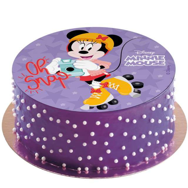 Dekoracja tortu - opłatek bc Myszka Minnie na wrotkach 20 cm Dekora