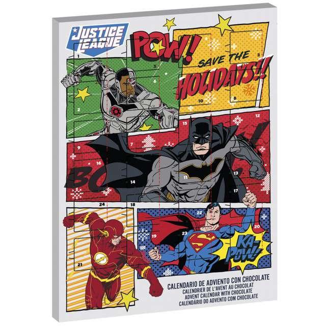 Kalendarz adwentowy Liga sprawiedliwości DC z czekoladkami czerwony Dekora