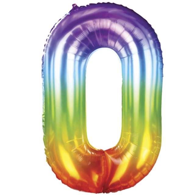 Balony foliowe Żelek - Cyfra 0 tęczowy PartyPal 40 SHP