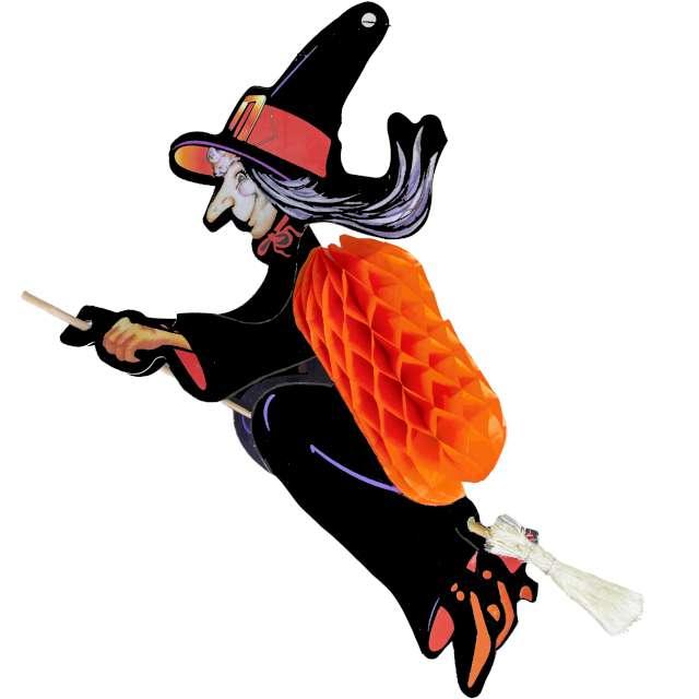 """Dekoracja """"Honeycomb - Hallowenowa Wiedźma na miotle"""", PartyPal, 95 cm"""