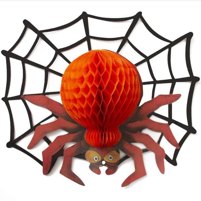 Dekoracja Honeycomb - Halloweenowy Pająk czerwony PartyPal 42 cm