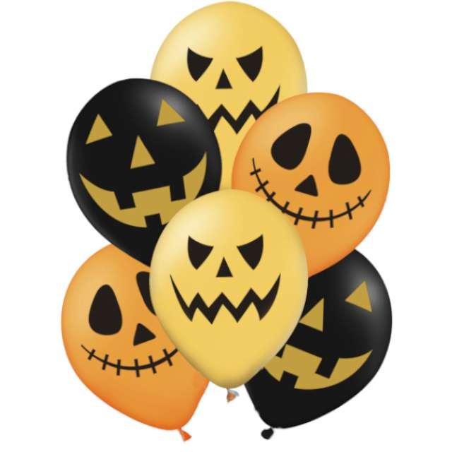 """Balony """"Halloweenowe Dynie"""", pomarańczowy mix, PartyPal, 12"""", 6 szt"""
