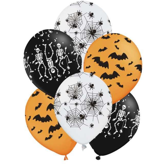 Balony Halloweenowe Wzory pomarańczowy mix PartyPal 12 6szt