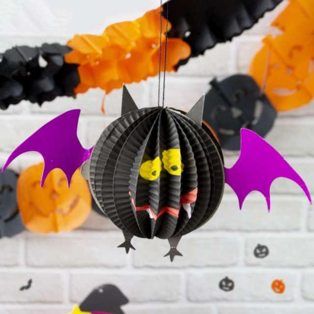 Dekoracja Honeycomb - Halloweenowy Nietoperz PartyPal 28 cm