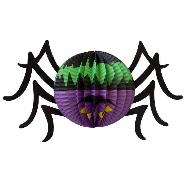 """Dekoracja """"Honeycomb - Halloweenowy Pająk okrągły"""", PartyPal, 27 cm"""