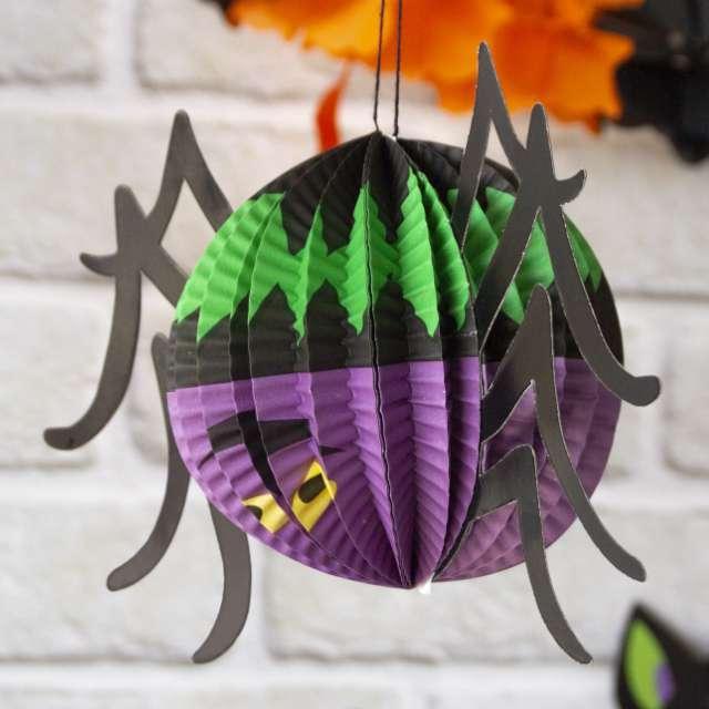 Dekoracja Honeycomb - Halloweenowy Pająk okrągły PartyPal 27 cm