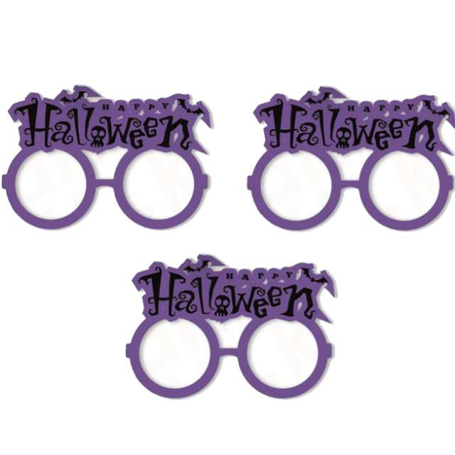"""Okulary party """"Halloween"""", fioletowe, PartyPal, 3 szt"""