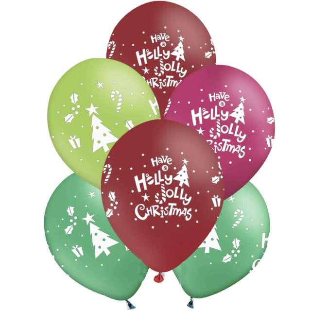"""Balony """"Świąteczne - Have a Holly Jolly Christmas"""", 12"""", PartyPal, 6 szt"""