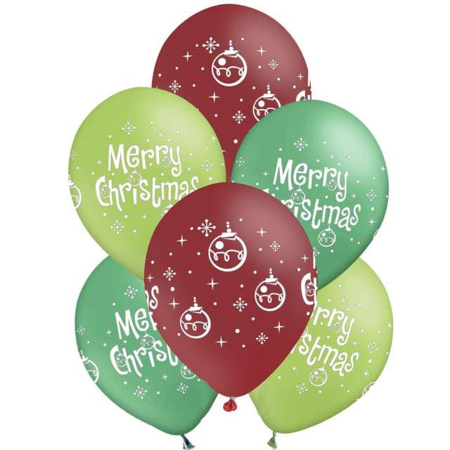 """Balony """"Świąteczne - Merry Christmas"""", 12"""", PartyPal, 6 szt"""
