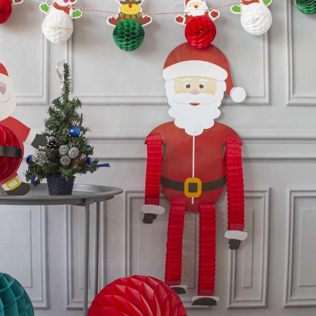 Dekoracja wisząca Święty Mikołaj - harmonijka PartyPal 121 cm