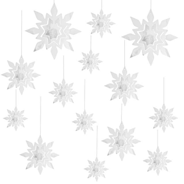 """Dekoracja wisząca """"Płatki Śniegu 3D"""", PartyPal, 14 szt"""