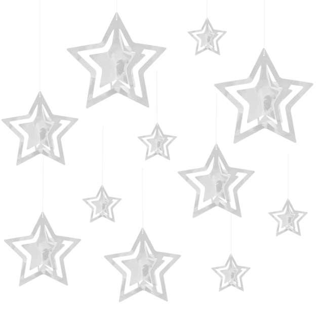 """Dekoracja wisząca """"Gwiazdki 3D"""", srebrne, PartyPal, 15 szt"""