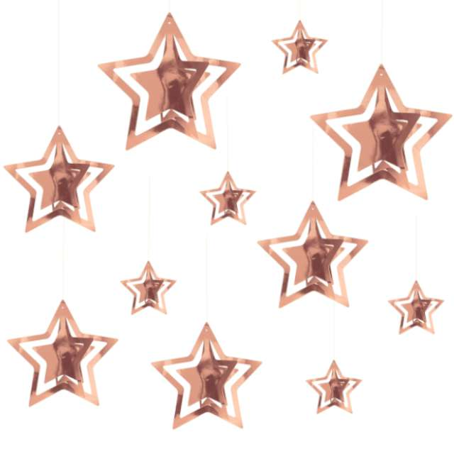 """Dekoracja wisząca """"Gwiazdki 3D"""", różowe złoto, PartyPal, 15 szt"""