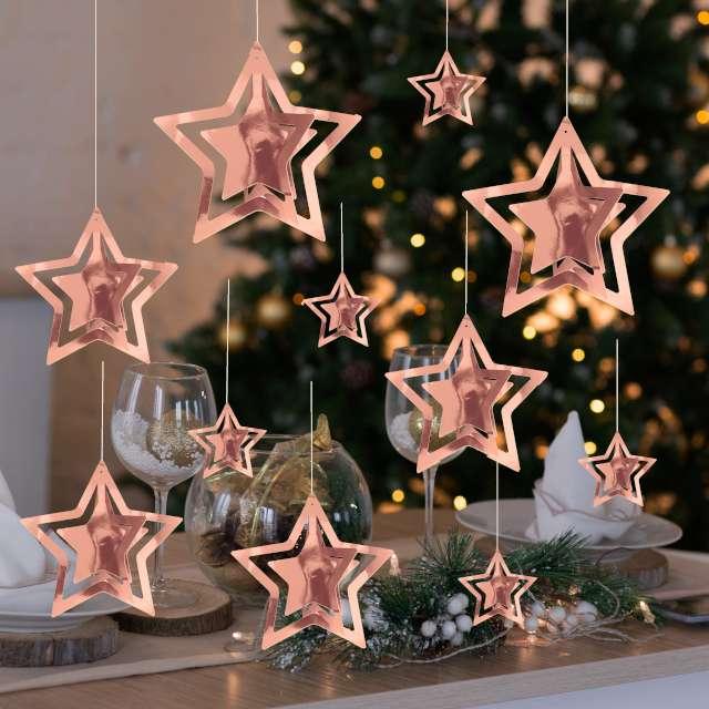Dekoracja wisząca Gwiazdki 3D różowe złoto PartyPal 15 szt