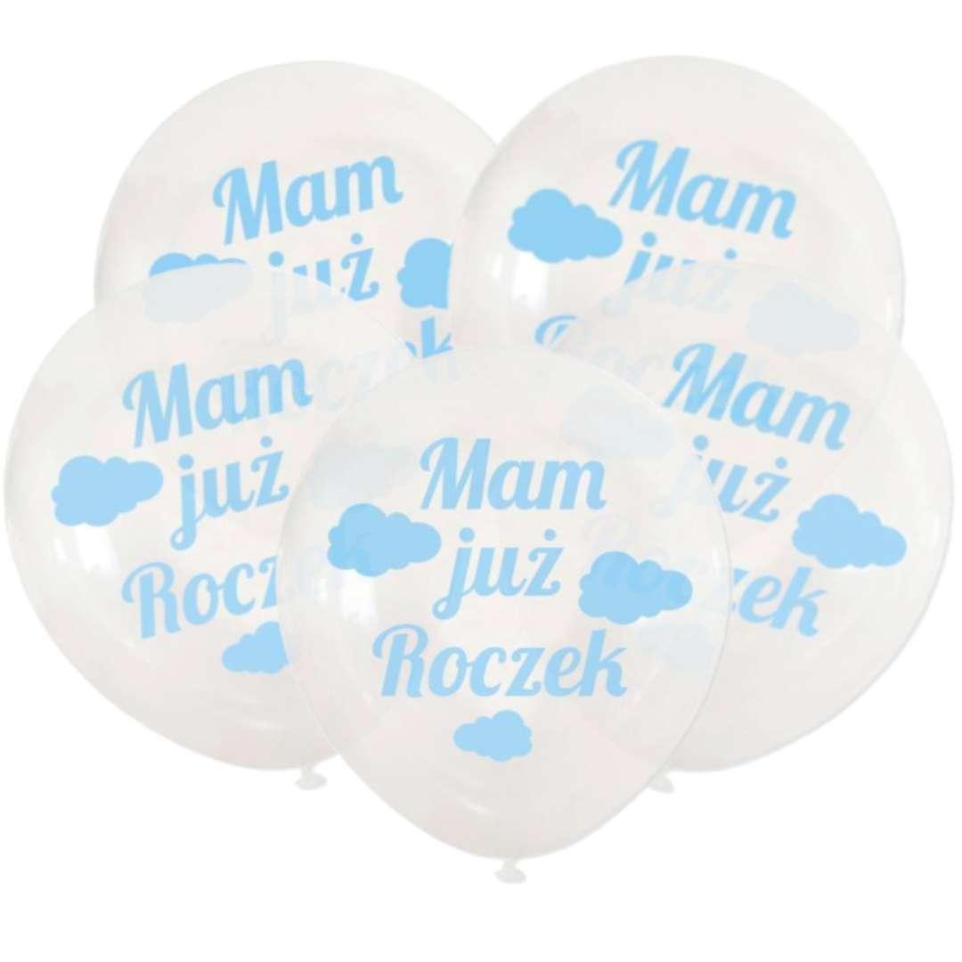 """Balony """"Mam już Roczek"""", transparentne, DekoracjePolska, 12"""", 5 szt"""