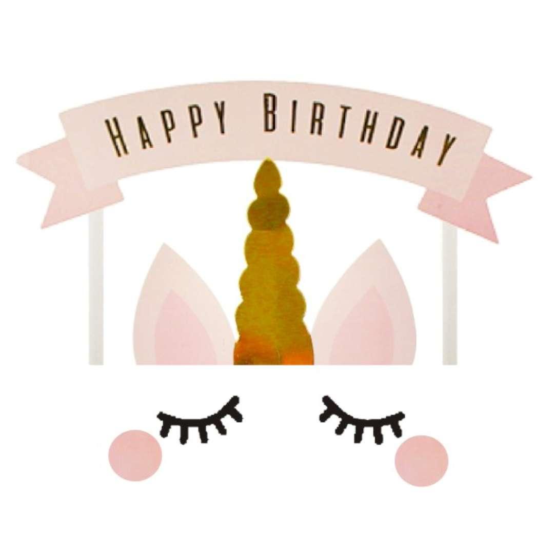 Dekoracja na tort Jednorożec - Happy Birthday Godan