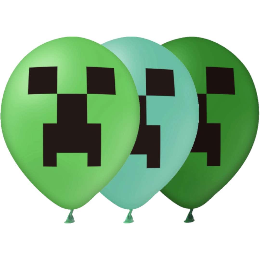 """Balony """"Piksel - Czyhacz"""", zielony, PartyPal, 12"""", 12 szt"""