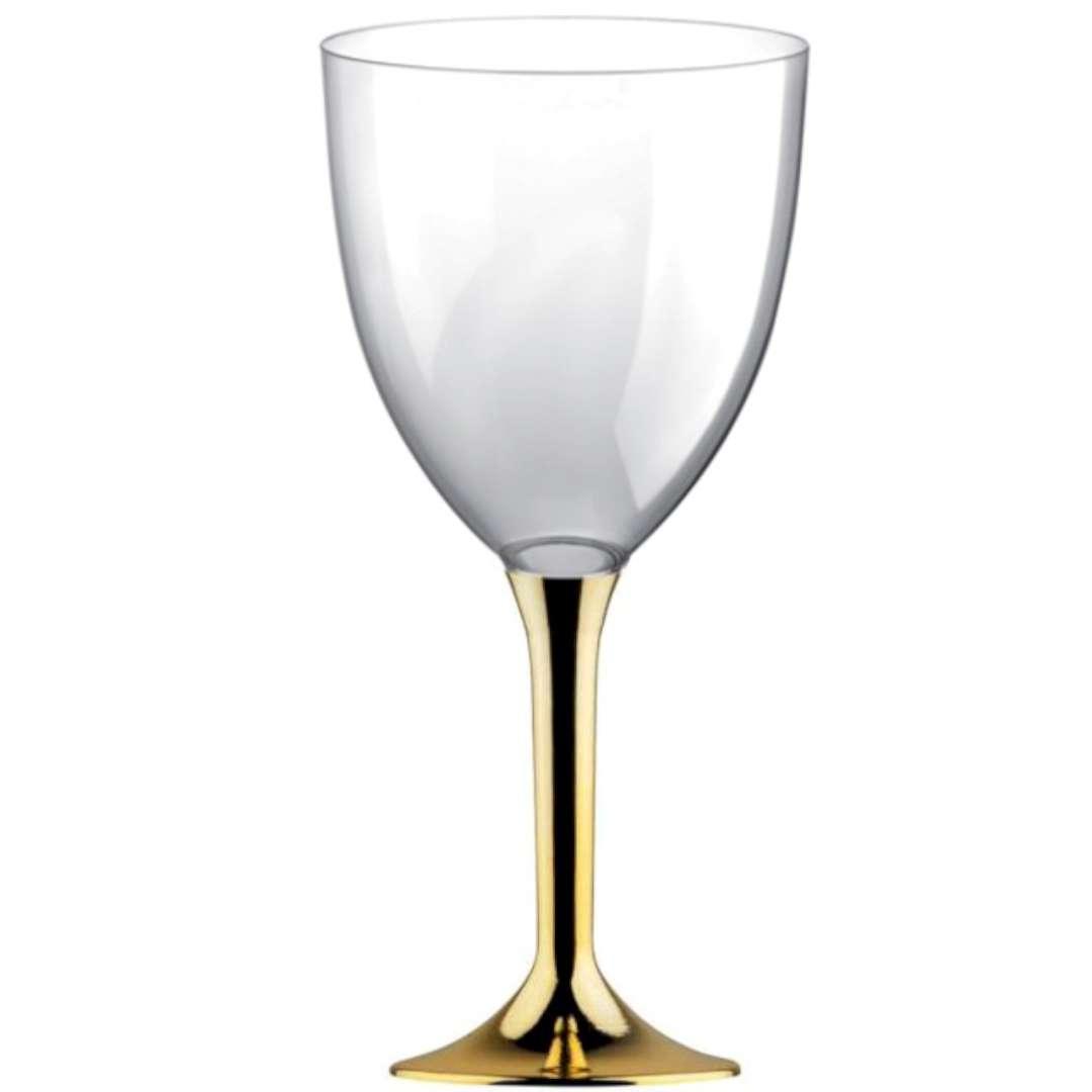 Kieliszki jednorazowe Wino XL złote chrom GoldPlast 300 ml 10szt