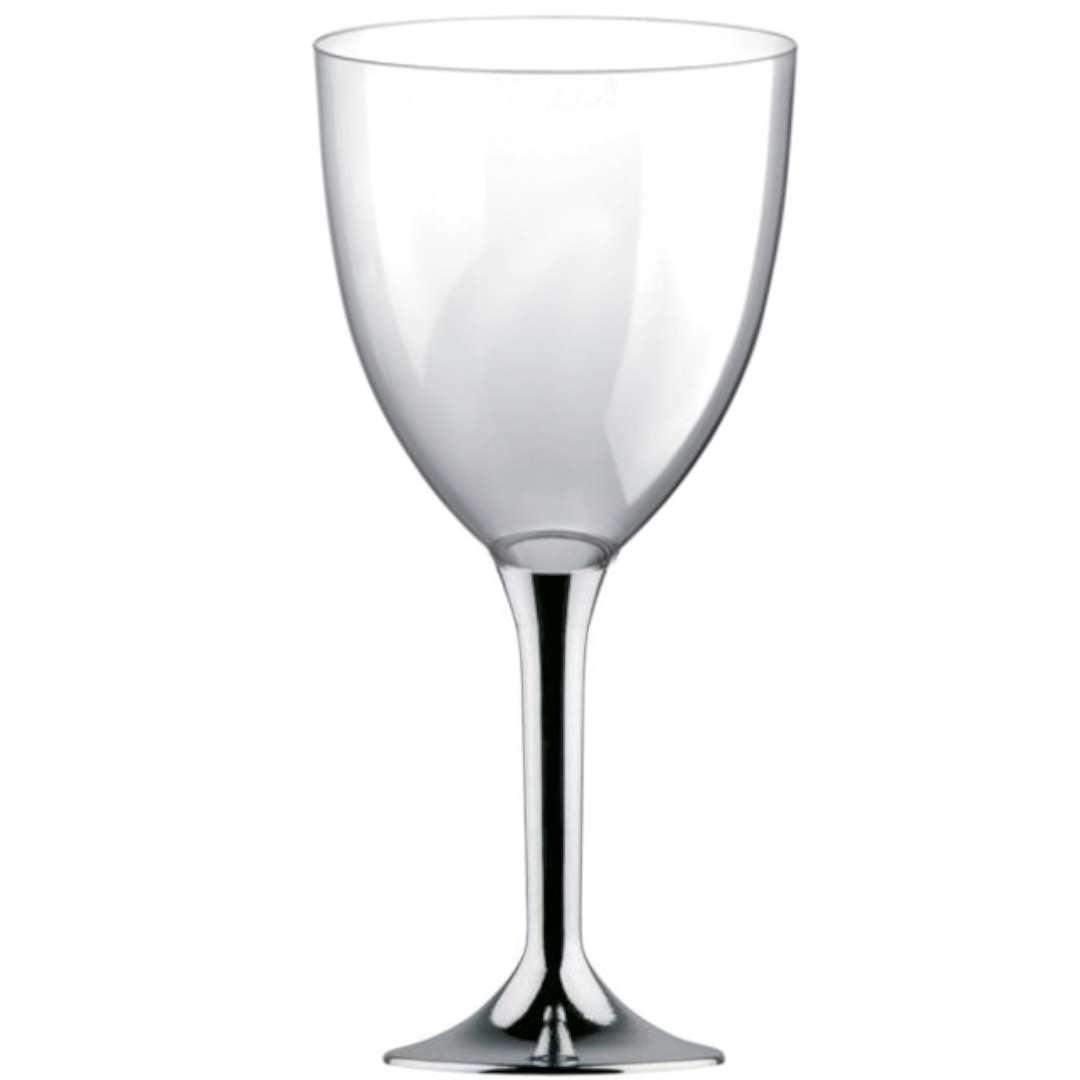 Kieliszki jednorazowe Wino XL srebrne chrom GoldPlast 300 ml 10szt