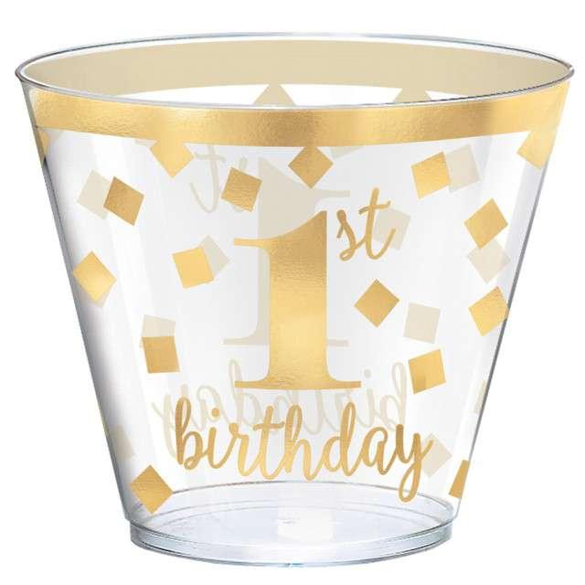 """Kubeczki plastikowe """"1 Urodziny"""", transparentno-złote, Amscan"""