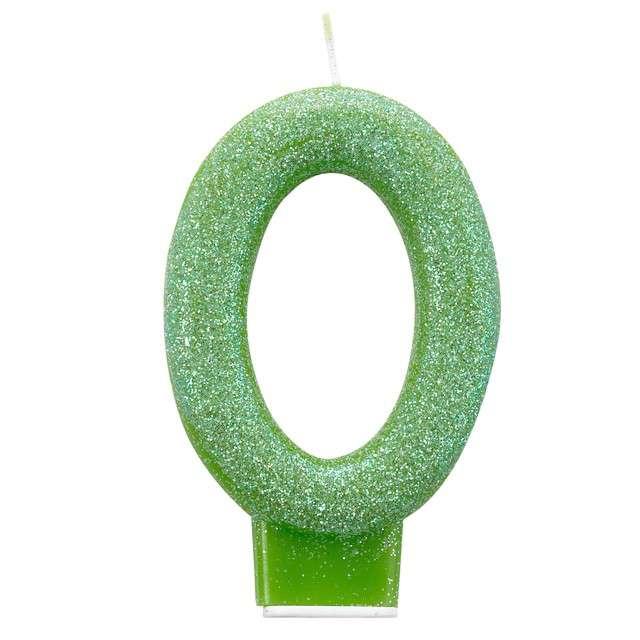 Świeczka na tort Cyfra 0 - Brokatowa zielona Amscan