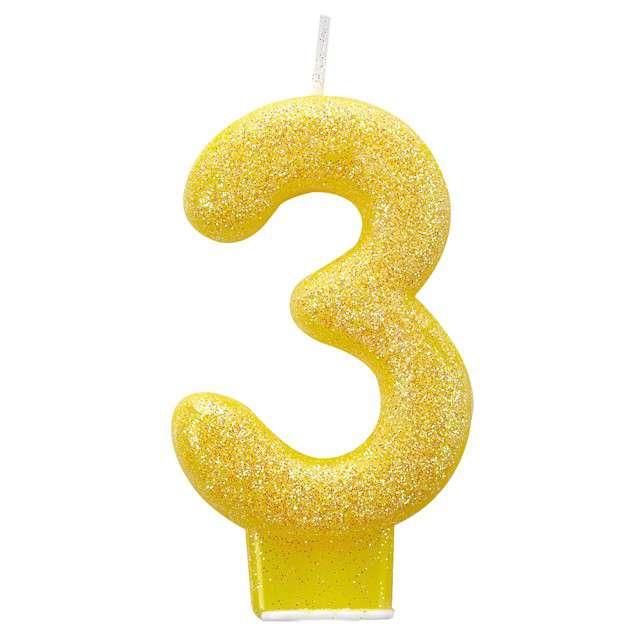 Świeczka na tort Cyfra 3 - Brokatowa żółta Amscan