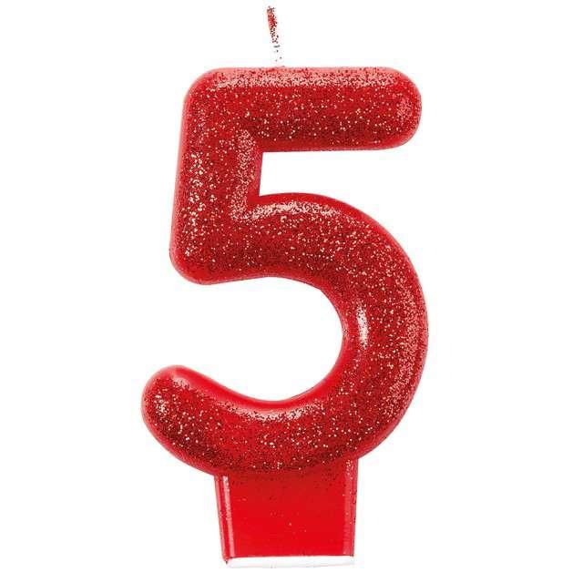 Świeczka na tort Cyfra 5 - Brokatowa czerwona Amscan
