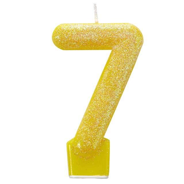 Świeczka na tort Cyfra 7 - Brokatowa żółta Amscan