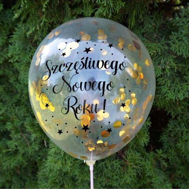 Balony Złote Konfetti - Sylwester transparentne Dekoracje Polska 12 5 szt