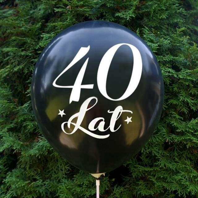 Balony 40 Urodziny czarny metalik DekoracjePolska 12 5 szt