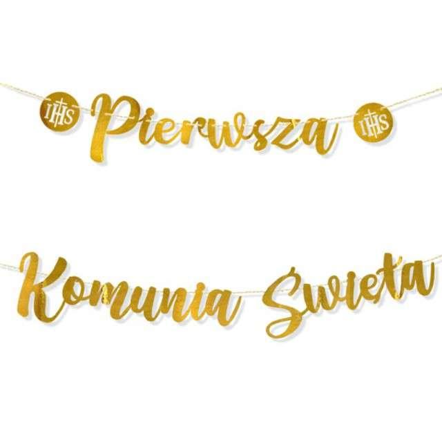 """Baner """"Pierwsza Komunia Święta"""", złoty, DekoracjePolska, 210 cm"""