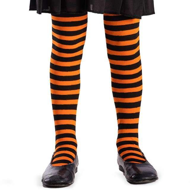 "Rajstopy ""Paski Halloween"", pomarańczowe, Carnival Toys"