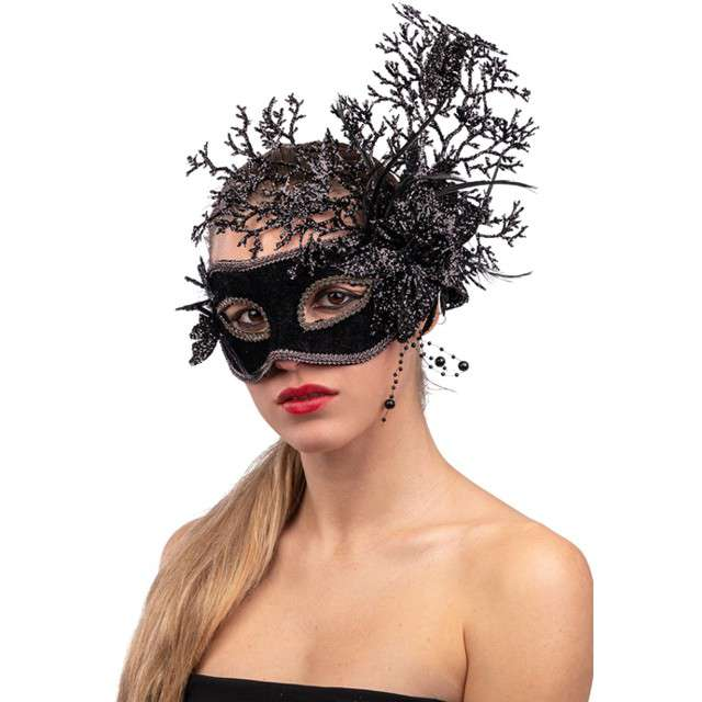 """Maska party """"Brokatowy kwiat"""", czarna, Carnival Toys"""
