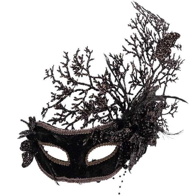 Maska party Brokatowy kwiat czarna Carnival Toys