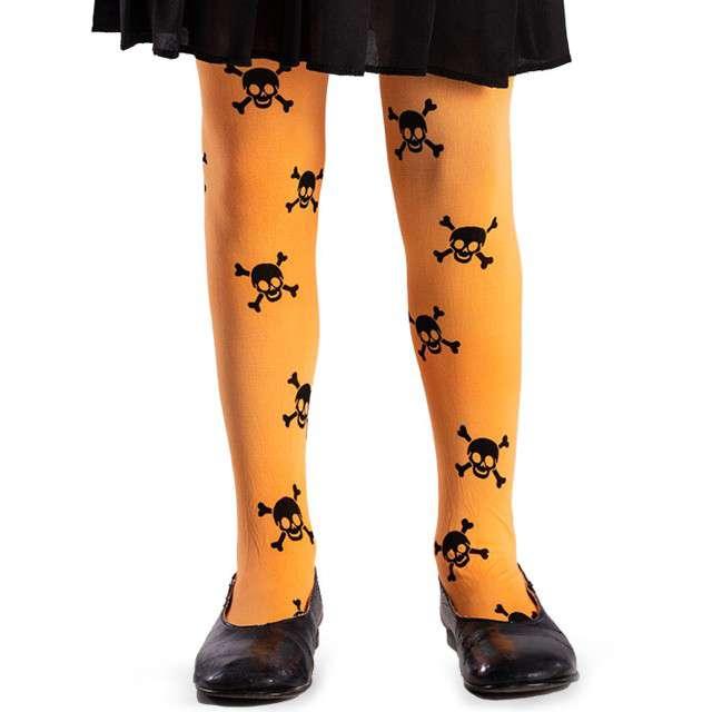 """Rajstopy """"Czaszki Halloween"""", pomarańczowe, Carnival Toys"""
