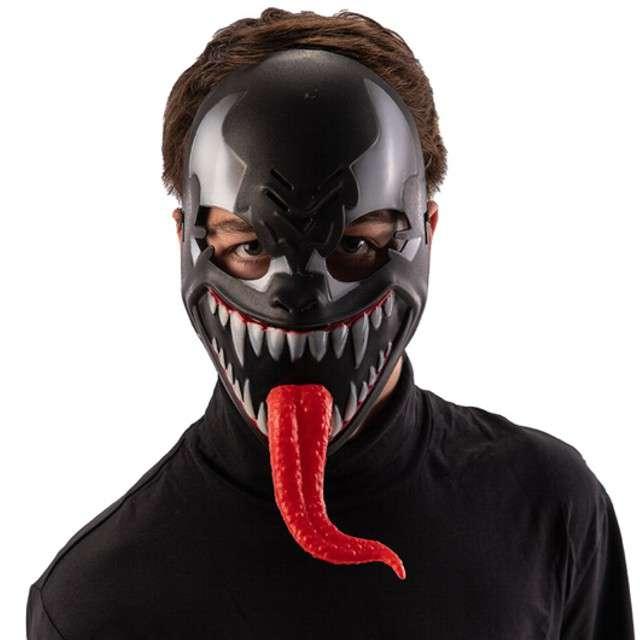 """Maska """"Venom z długim jęzorem"""", plastikowa, czarna, Carnival Toys"""