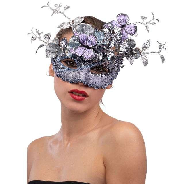 """Maska karnawałowa """"Liliowy motyl"""", srebrna, Carnival Toy"""