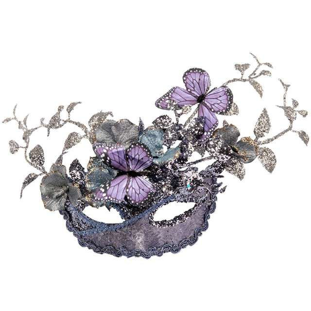 Maska karnawałowa Liliowy motyl srebrna Carnival Toy