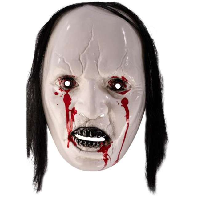 Maska Potwór z włosami biała plastikowa Carnival Toys