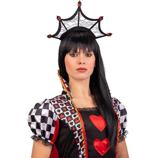 """Opaska party """"Pajęczyna z rubinowymi sercami"""", czarna, Carnival Toys"""