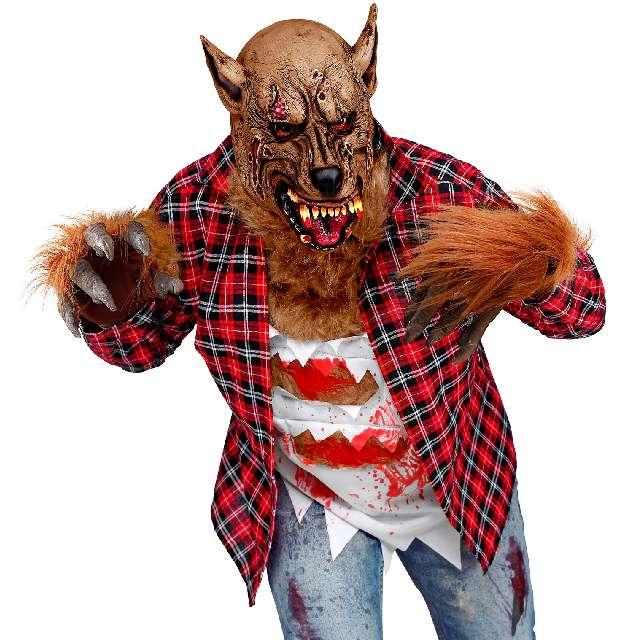 Rękawiczki Wilkołak z futrem brązowe Widmann