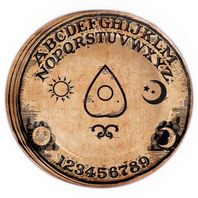 """Talerzyki papierowe """"Ouija diabelska plansza"""", Guirca, 8 szt"""