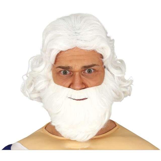 Peruka party Mikołaj Św. z brodą biała Guirca
